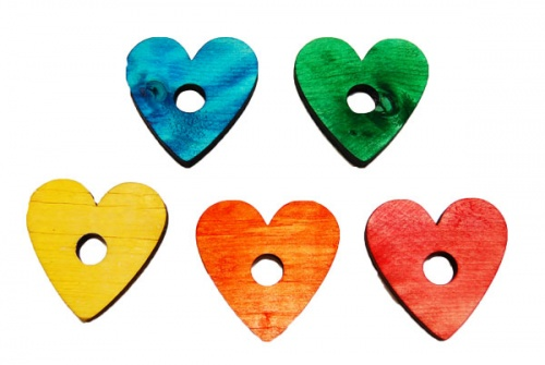 Coloured Wooden Hearts