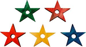 Coloured Wooden Stars Medium 5cm