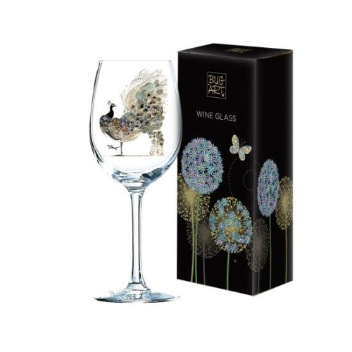 Bug Art Wine Glass - Peacock