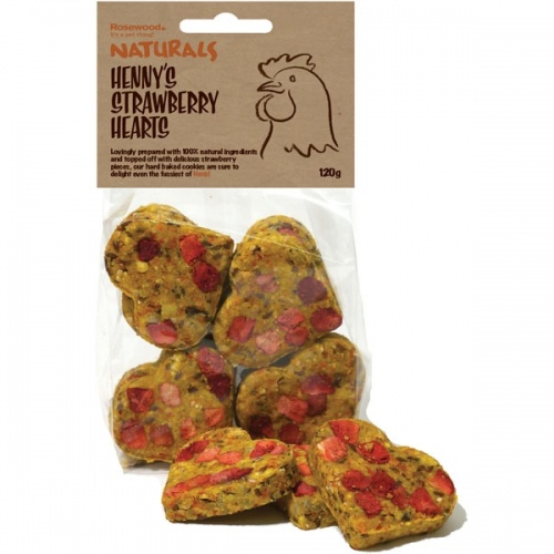 Naturals Hennys Strawberry Hearts 120g